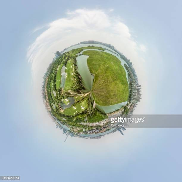 little planet effect - digital distortion stock photos and pictures