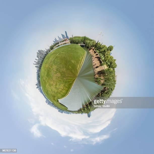 little planet effect - formato de pequeno planeta - fotografias e filmes do acervo