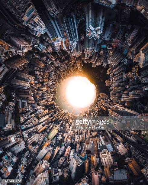 little planet format image of cityscape - little planet format stock photos and pictures