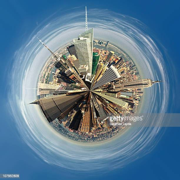 little planet new york - fish eye lens stock pictures, royalty-free photos & images