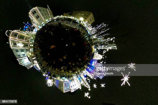 A little planet of Christmas light and decorations on the Triple Bridge on December 2 2017 in Ljubljana Slovenia The traditional Christmas market and...