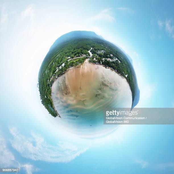 360° Little Planet View above Breathtaking Nature in Bai Thom Beach, Phu Quoc Island, Vietnam