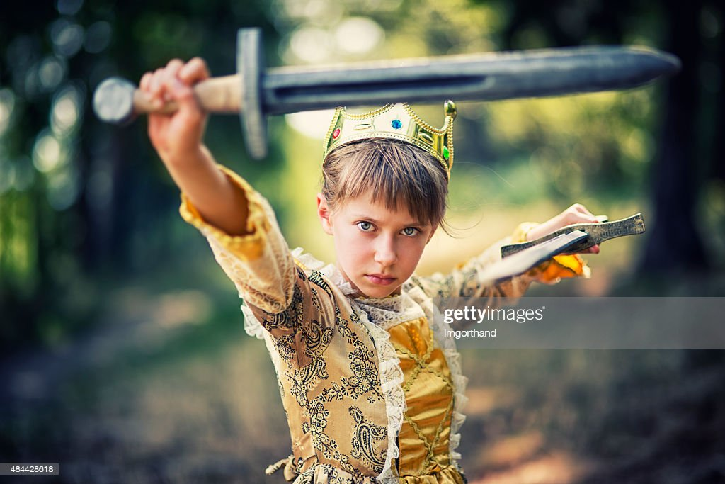 Little princess that does not need saving : Stock Photo