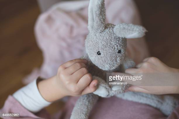 little rabbit - soft toy stock pictures, royalty-free photos & images
