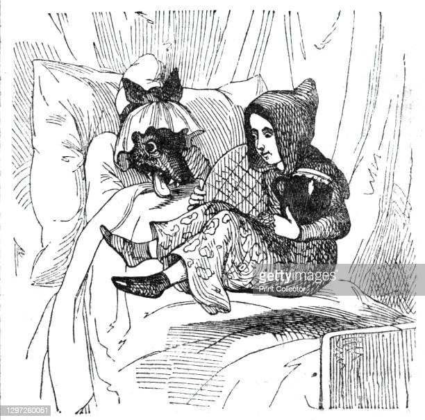 """Little Red Riding Hood and the wolf disguised as her grandmother, 1842. From """"Illustrated London News"""" Vol I. Artist Unknown."""