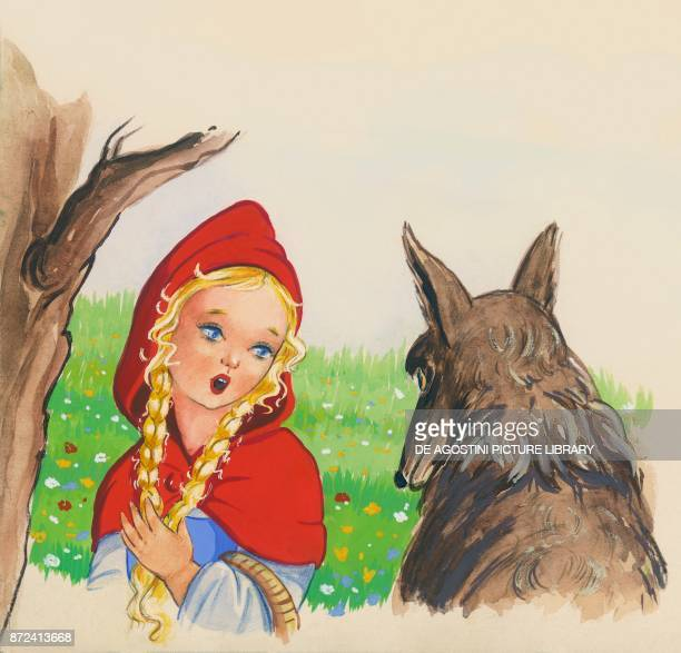 Little Red Riding Hood and the wolf illustration for the European fairy tale Little Red Riding Hood drawing