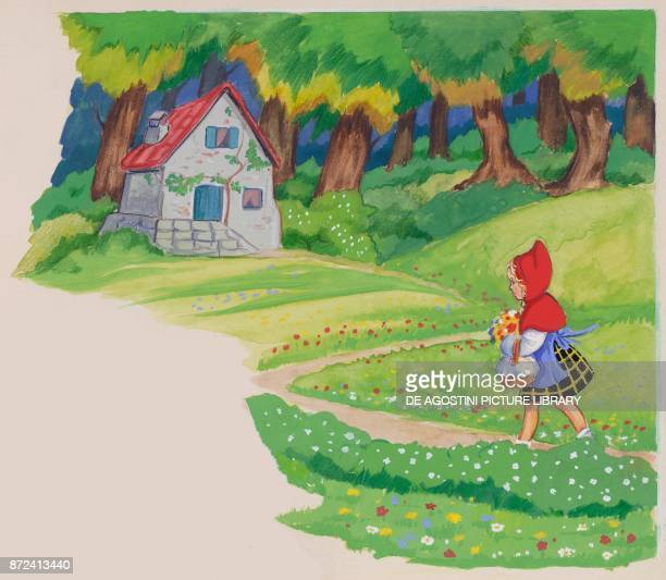 Little Red Riding Hood arriving at her granmother's house illustration for the European fairy tale Little Red Riding Hood drawing