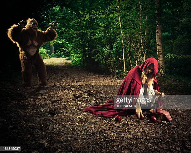 little red riding hood lost in the forest - monster fictional character stock pictures, royalty-free photos & images