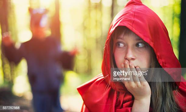 Little Red Riding Hood noticing the wolf