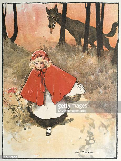 Little Red Riding Hood on her way to her grandmother's observed by a sinister leering wolf Illustration by Tom Browne for the fairy tale Published...