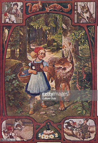 Little Red Riding Hood walking through the forest and meeting the wolf Grimm brothers story German illustration