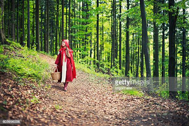 le petit chaperon rouge à travers la forêt. - le petit chaperon rouge photos et images de collection