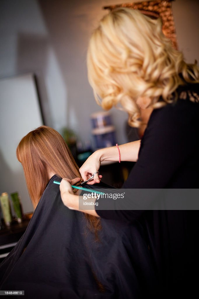 Little Redhaired Girl Getting Haircut In Salon Stock Photo Getty