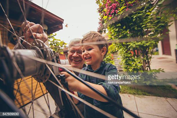 Little repairman and his grandfather
