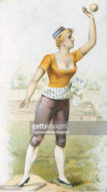 Little Rhody tobacco uses female baseball players on a set of cigarette insert cards to promote their product, printed circa 1885 in New York City.