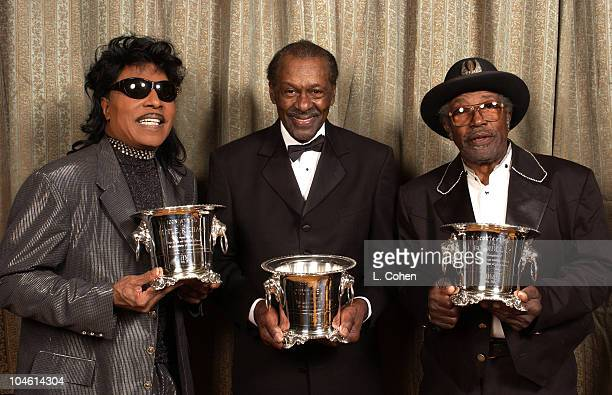 Little Richard Chuck Berry Bo Diddley during 2002 BMI Pop Awards at Regent Beverly Wilshire in Beverly Hills California United States