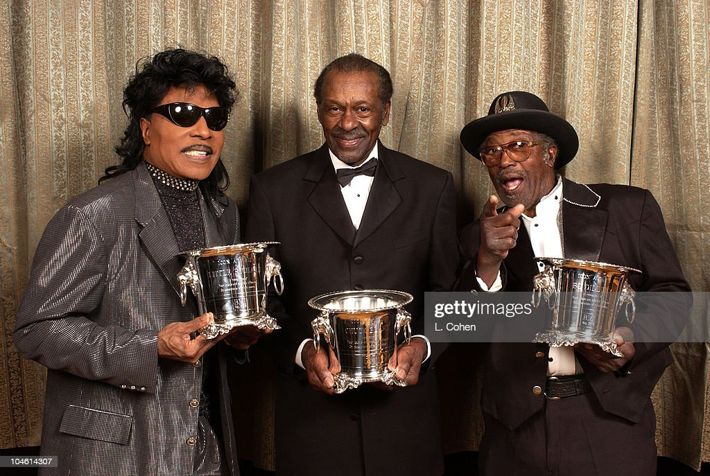 Remembering rock n roll legend chuck berry with his blend of little richard chuck berry bo diddley during 2002 bmi pop awards at regent beverly voltagebd Image collections