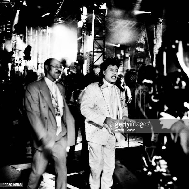 Little Richard is photographed during preparations for the first concert for the Rock and Roll Hall of Fame Museum on September 2 1995 in Cleveland...
