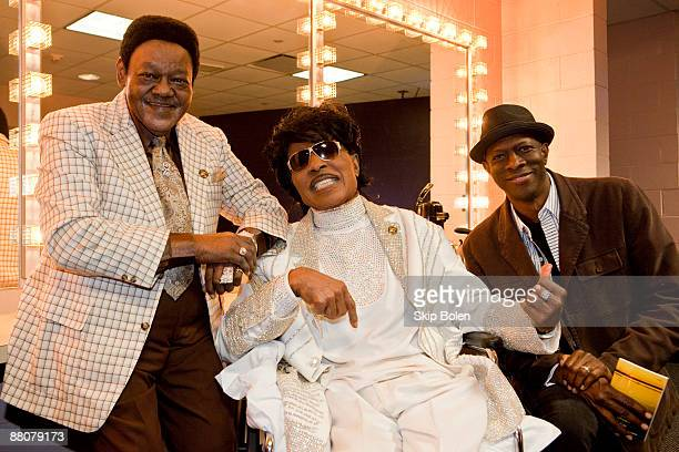 Little Richard poses backstage with Fats Domino and KebMo during the Domino Effect benefit concert at the New Orleans Arena on May 30 2009 in New...