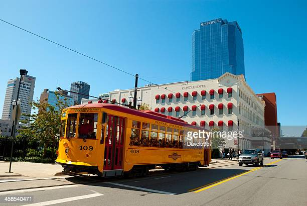 little rock downtown and streetcar - arkansas stock photos and pictures
