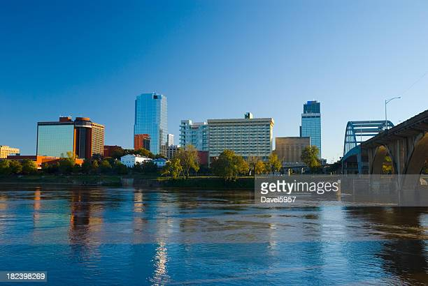 Little Rock downtown skyline, river, and bridge