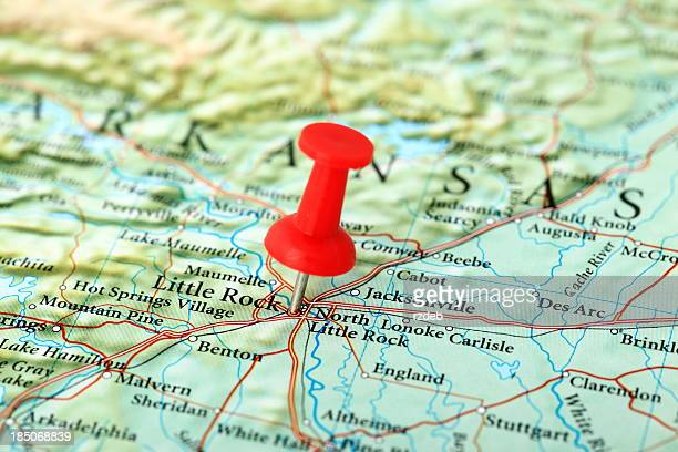 little rock map, arkansas - usa - arkansas stock pictures, royalty-free photos & images