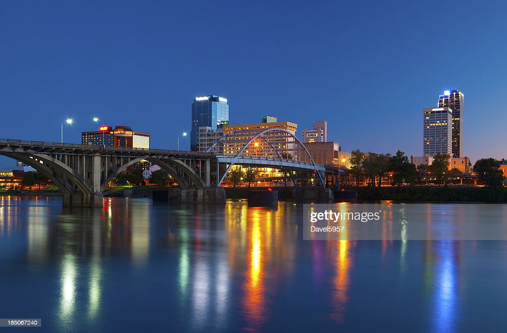 Little Rock skyline at dusk : Stock Photo