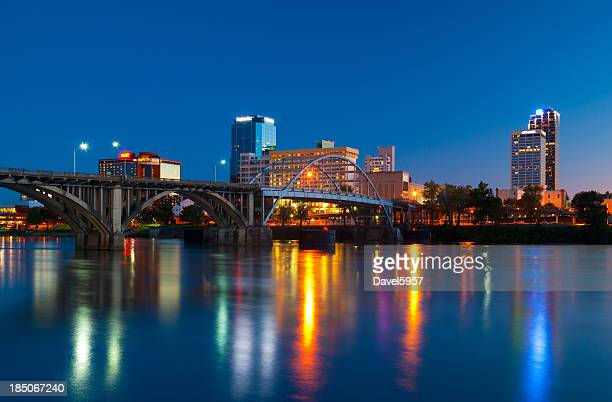little rock skyline at dusk - arkansas stock photos and pictures