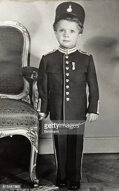 Little Royal Soldier Salutes the King Stockholm Sweden Wearing the light blue full uniform of the King's own Regiment of Horse and a miniature of the...