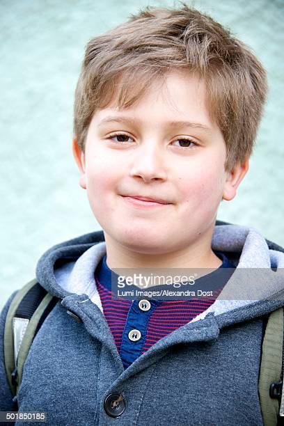 little schoolboy with blond hair, portrait, munich, bavaria, germany - alexandra dost stock-fotos und bilder