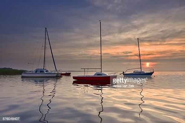 Little ships at sunset