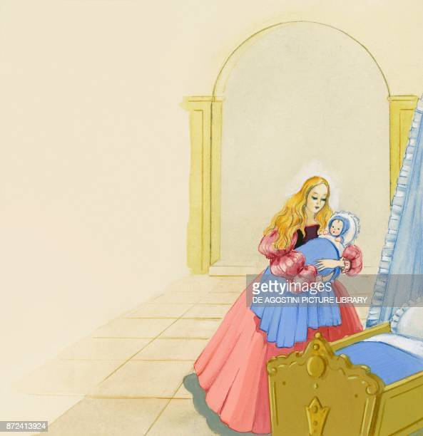Little sister goes to breastfeed her son at night illustration for Brother and Sister fairy tale by the Grimm brothers Jacob and Wilhelm drawing