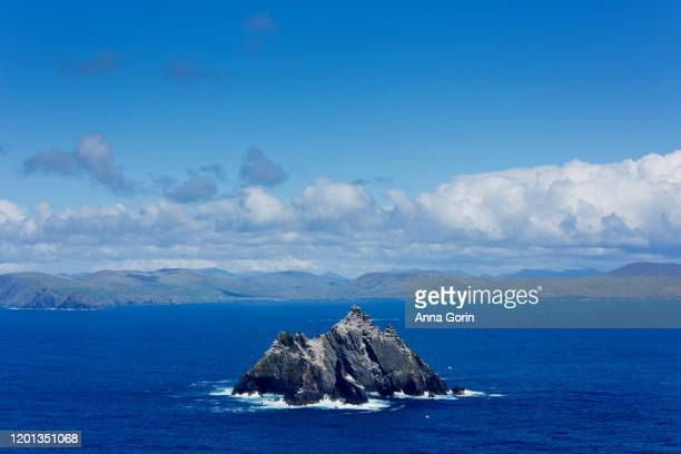 little skellig island, inhabited only by birds, seen from summit of skellig michael off coast of western ireland - skellig michael ストックフォトと画像