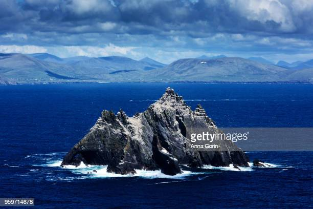Little Skellig Island, inhabited only by birds, seen from summit of Skellig Michael off coast of western Ireland
