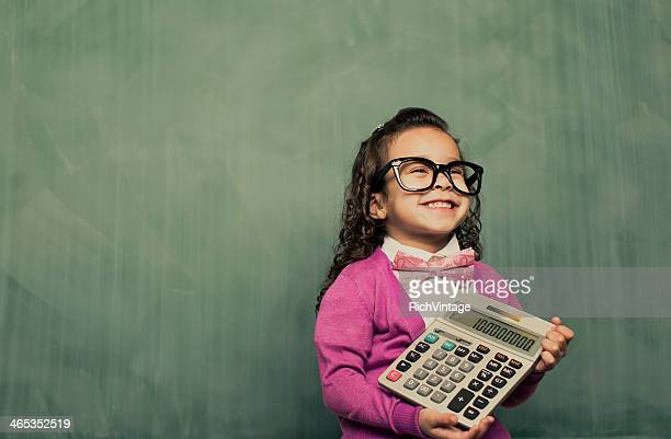 little smarty girl - calculator stock photos and pictures