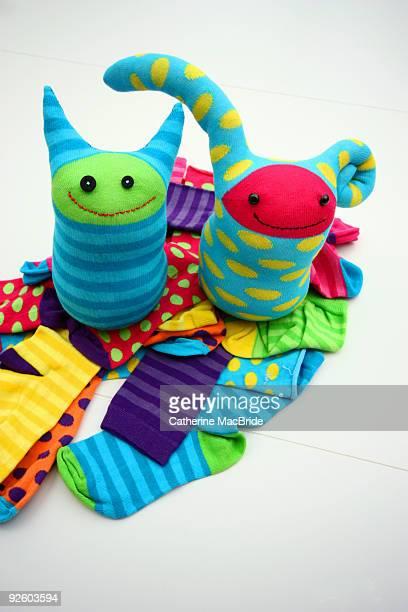 little sock monsters - catherine macbride stock-fotos und bilder