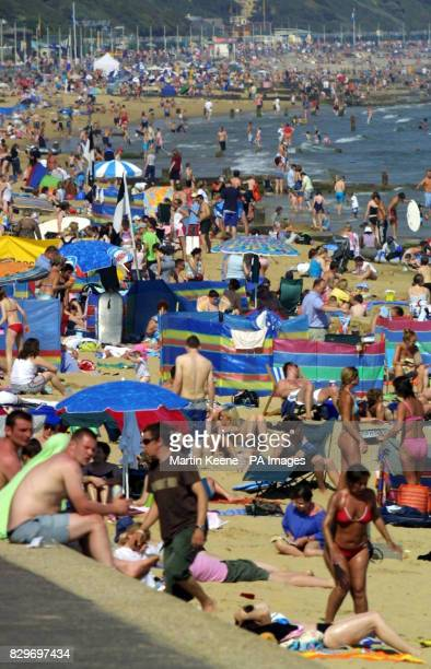 Little space to spare on the beach at Branksome in Poole where thousands flocked to escape soarng temperatures