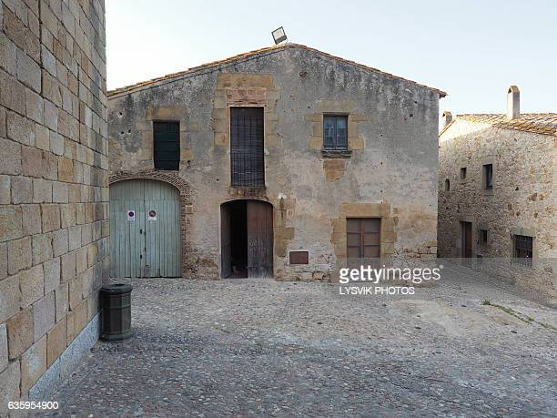 Little square with medieval buildings, Pals, Catalonia