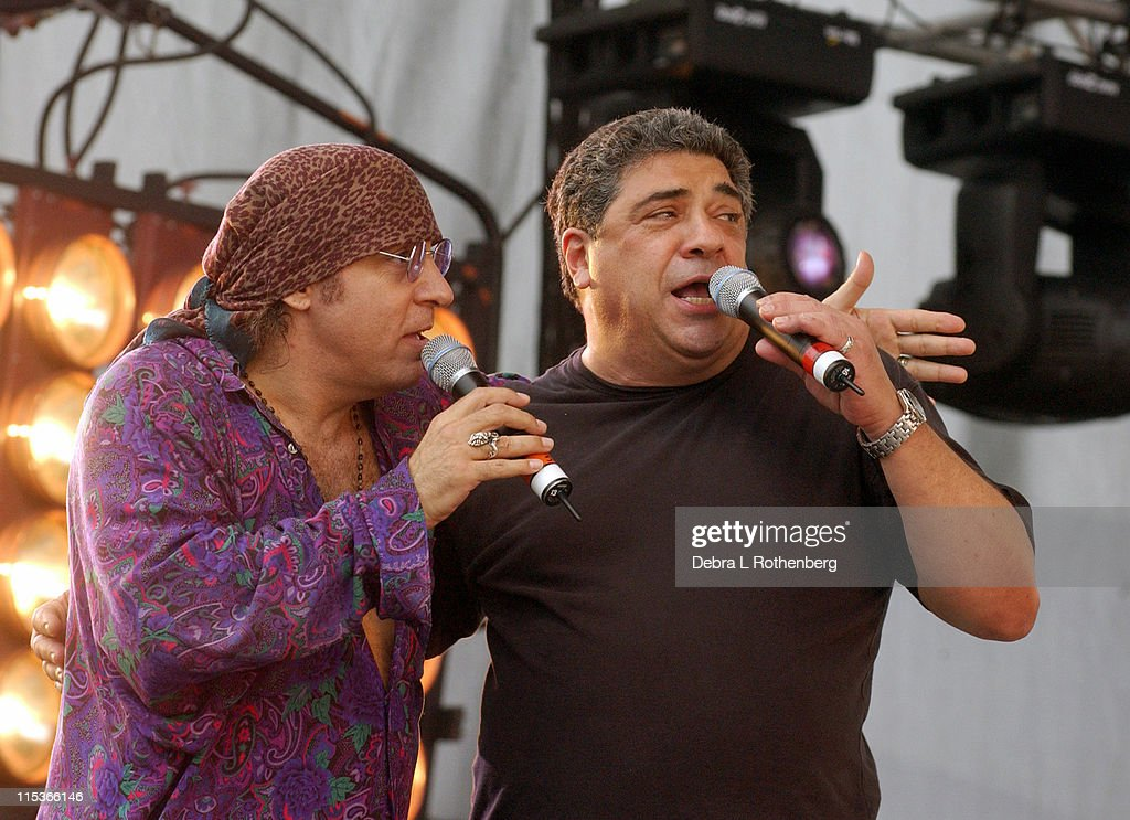 Little Steven Van Zandt and Vincent Pastore during Little Steven's Underground Garage Festival Presented by Dunkin' Donuts - Show - August 14, 2004 at Randall's Island in New York City, New York, United States.