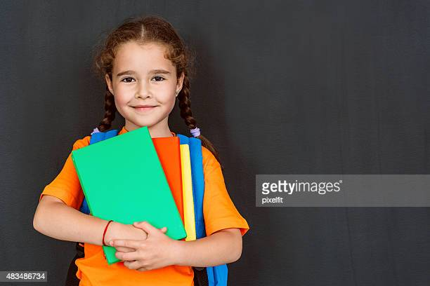 little student girl - blank chalkboard stock photos and pictures