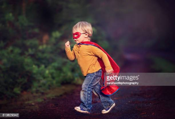 Little super hero off to save the day