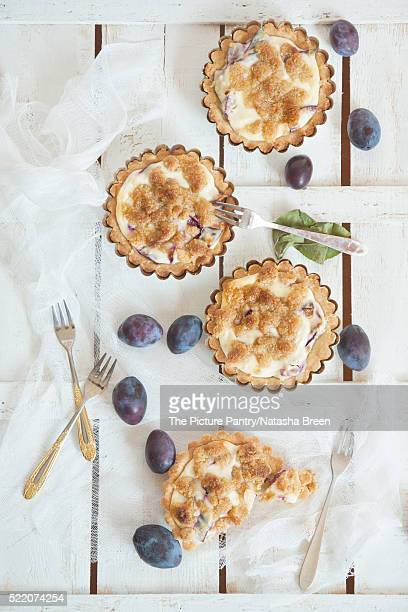 little tarts with fresh plums