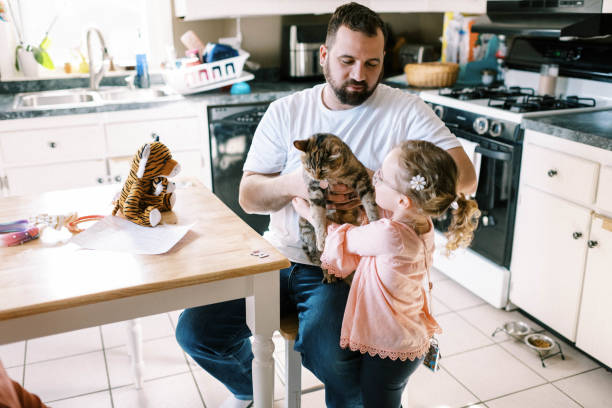 Little toddler girl holding her cute pet cat in her arms in kitchen