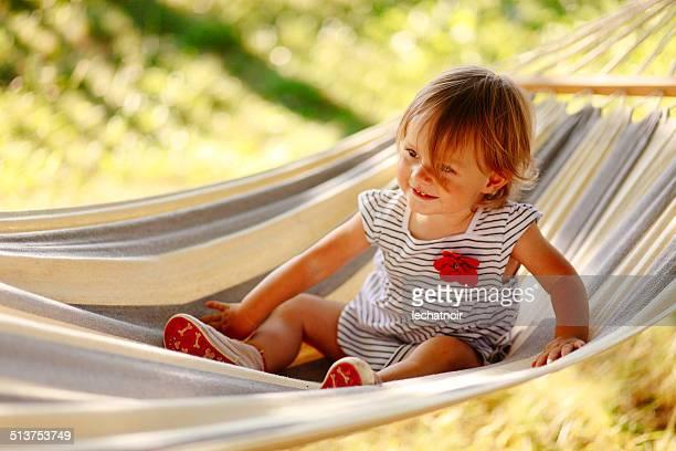 little toddler in hammock
