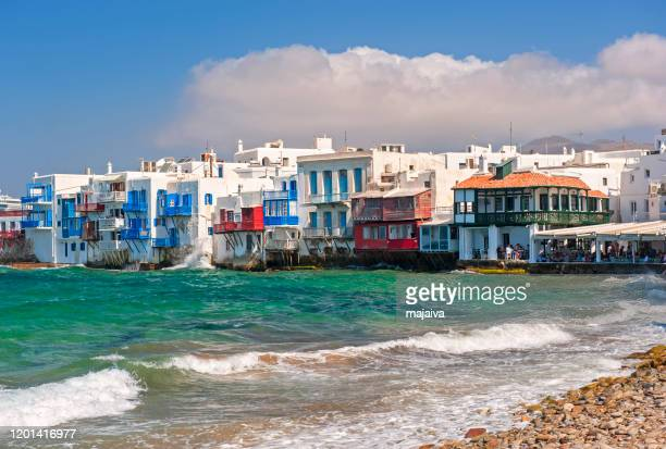 little venice in mykonos, greece - cyclades islands stock pictures, royalty-free photos & images