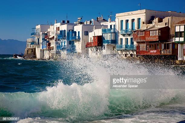 'Little Venice' in Mykonos on a stormy day