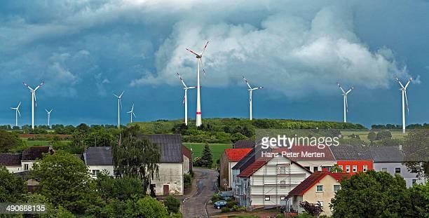 little village and wind turbines