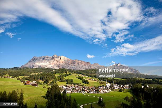 little village in the mountains - dolomites italy - alta badia stock pictures, royalty-free photos & images