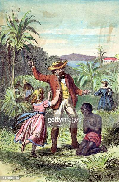 A little white girl tries to stop a slave owner from flogging a young slave wit a cat o' nine tails Hand colored lithographic illustration circa 1870