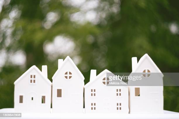 little white houses - mortgage stock pictures, royalty-free photos & images